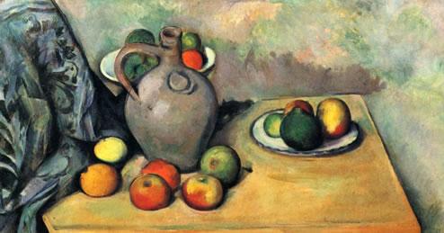 Cántaro y frutas sobre una mesa, Cézanne